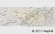 Shaded Relief Panoramic Map of Zuoquan, semi-desaturated