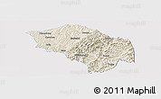 Shaded Relief Panoramic Map of Zuoquan, single color outside