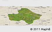 Satellite Panoramic Map of Anyue, shaded relief outside