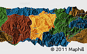 Political Panoramic Map of Butuo, darken