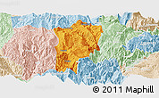 Political Panoramic Map of Butuo, lighten