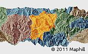 Political Panoramic Map of Butuo, semi-desaturated