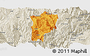 Political Panoramic Map of Butuo, shaded relief outside