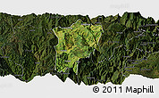 Satellite Panoramic Map of Butuo, darken