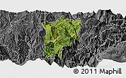 Satellite Panoramic Map of Butuo, desaturated