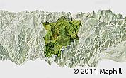 Satellite Panoramic Map of Butuo, lighten
