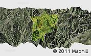 Satellite Panoramic Map of Butuo, semi-desaturated