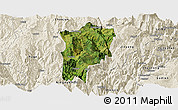 Satellite Panoramic Map of Butuo, shaded relief outside