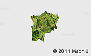 Satellite Panoramic Map of Butuo, single color outside