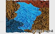 Political Panoramic Map of Daocheng, darken
