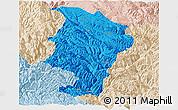 Political Panoramic Map of Daocheng, lighten