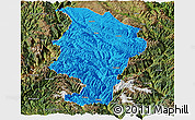 Political Panoramic Map of Daocheng, satellite outside