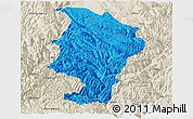 Political Panoramic Map of Daocheng, shaded relief outside
