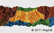 Political Panoramic Map of Dechang, darken