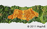 Political Panoramic Map of Dechang, satellite outside