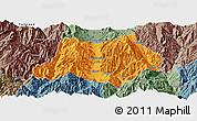 Political Panoramic Map of Dechang, semi-desaturated