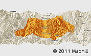 Political Panoramic Map of Dechang, shaded relief outside