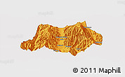 Political Panoramic Map of Dechang, single color outside