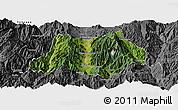 Satellite Panoramic Map of Dechang, desaturated