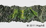 Satellite Panoramic Map of Dechang, semi-desaturated