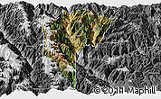 Satellite Panoramic Map of Derong, desaturated