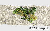 Satellite Panoramic Map of Dukou Shiqu, shaded relief outside