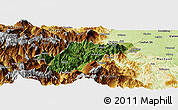 Satellite Panoramic Map of Ebian, physical outside