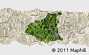 Satellite Panoramic Map of Ganluo, shaded relief outside