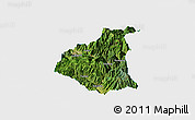 Satellite Panoramic Map of Ganluo, single color outside