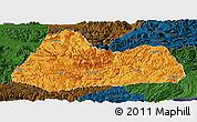 Political Panoramic Map of Gulin, darken
