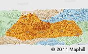 Political Panoramic Map of Gulin, lighten