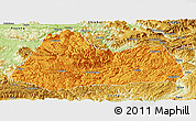 Political Panoramic Map of Gulin, physical outside