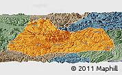 Political Panoramic Map of Gulin, semi-desaturated