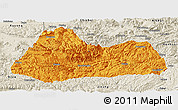 Political Panoramic Map of Gulin, shaded relief outside
