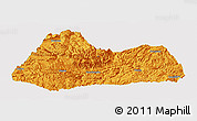Political Panoramic Map of Gulin, single color outside