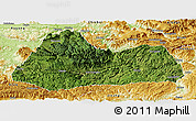 Satellite Panoramic Map of Gulin, physical outside