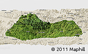 Satellite Panoramic Map of Gulin, shaded relief outside