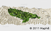 Satellite Panoramic Map of Hanyuan, shaded relief outside