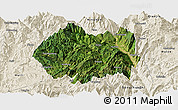 Satellite Panoramic Map of Huidong, shaded relief outside