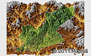 Satellite Panoramic Map of Huili, physical outside