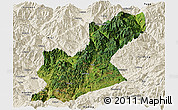 Satellite Panoramic Map of Huili, shaded relief outside