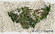Satellite Panoramic Map of Jiulong, shaded relief outside