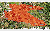 Political Panoramic Map of Litang, satellite outside