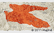 Political Panoramic Map of Litang, shaded relief outside