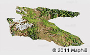 Satellite Panoramic Map of Litang, cropped outside
