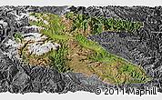 Satellite Panoramic Map of Litang, desaturated