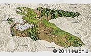 Satellite Panoramic Map of Litang, shaded relief outside