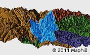 Political Panoramic Map of Luding, darken