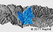 Political Panoramic Map of Luding, desaturated