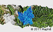Political Panoramic Map of Luding, satellite outside